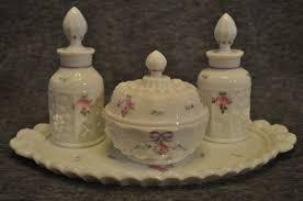 westmoreland roses bows paneled g milk glass dresser vanity set