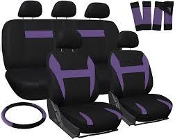 car seat covers for honda civic purple black steering wheel belt pad head rest