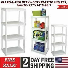 plano 4 tier heavy duty plastic shelves white 22 x 14 x