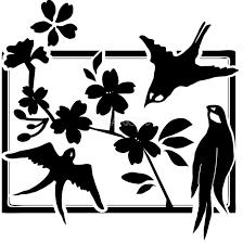 白黒の桜イラスト おしゃれ額縁鳥39644 素材good