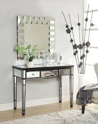 saving small spaces modern minimalist dressing room design with wall mounted mirror and mirrored console table double drawer ideas black entryway wood