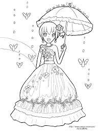 虹とドレスの女の子の塗り絵の下絵