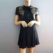 saint lau black leather and lace dress 38