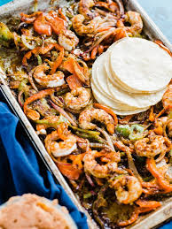 sheet pan shrimp fajitas sheet pan spicy shrimp fajitas dad with a pan