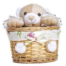 wicker basket with plush toy