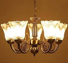 antique design metal chandelier with 5 glass lamp