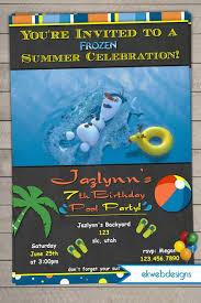 Frozen Summer Swimming Birthday Invitation Chalkboard