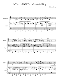 This is the free in the hall of the mountain king sheet music first page. In The Hall Of The Mountain King Sheet Music For Piano Trumpet Solo Musescore Com