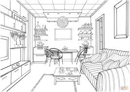 Living Room Coloring Living Room With A Luminous Ball Coloring Page Free Printable