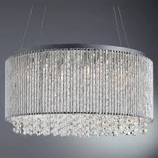 searchlight beatty 8 light drum pendant chrome clear crystal on drops aluminium outer trim 4048 8cc