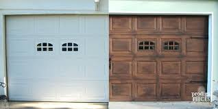 painting vinyl doors before and after photographs show a plain white garage door with two small painting vinyl doors