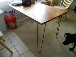 Hairpin Leg Dining Table - the top of an IKEA Bjorkudden and hairpin legs