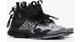 nike acronym x presto leather trim mid trainers in gray for men save 18 lyst