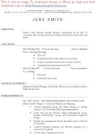 clinical psychology resume objective vocational counselor resume