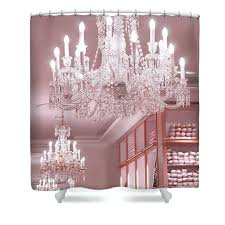 idea pink crystal chandelier and chandeliers shower curtain featuring the photograph crystal chandelier pink sparkling chandelier