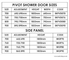standard shower door size sizes bathtub enclosures home steam showers