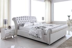 white leather bed queen size platinum