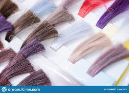 Shades Of Purple Hair Dye Chart Hair Color Chart Palette Of Dyed Shiny Hair Samples