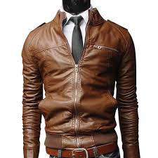 big men pu leather motorcycle jackets fashionable autumn winter outwear coat top