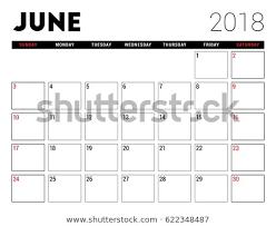 Printable Calendar June 2018 Planner Design Stock Vector Royalty