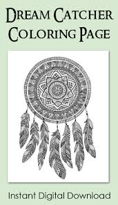 Dream Catcher Coloring Page Instant Digital Download Zentangel Funny Coloring Book Artlll L