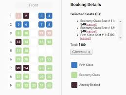 Javascript Interactive Seating Chart Full Featured Seating Chart Plugin With Jquery Seat Charts