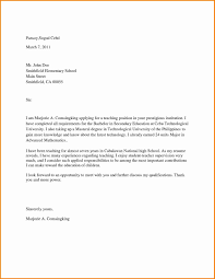 Example Cover Letter For Teaching Position Sample Cover Letter For Teaching Job In University