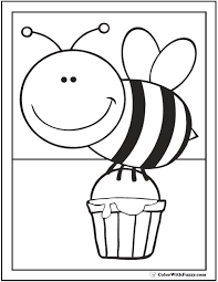 Small Picture Bee Coloring Pages Hives Flowers And Honey