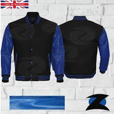 details about genuine blue leather sleeve letterman college varsity men black wool jacket