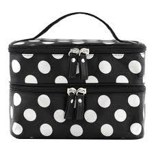 amazon duafire cosmetic bag double layer dot pattern travel toiletry bag organizer with mirror black beauty