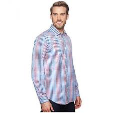 Bugatchi Men Shaped Fit Plaid Woven Shirt Classic Blue