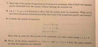 show that if the system of equations in exercise 6 is consistent then