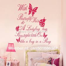>free shipping ebay amazon selling with a butterfly kiss vinyl wall  free shipping ebay amazon selling with a butterfly kiss vinyl wall art quote sticker for kids girl room decor q0021 in wall stickers from home garden on