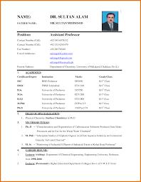 sample of biodata for job