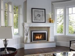 Corner Fireplace Pretty Fireplace Design For Corner Living Room With White Painted