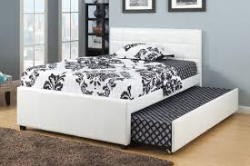 full size bed. Poundex F9216F White Faux Leather Full Size Bed With Twin Trundle Bed, Slat Kits Included L