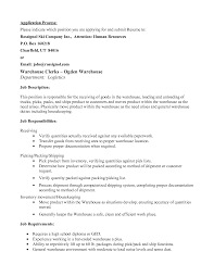 Cover Letter Resume For A Warehouse Job Sample Resume For A
