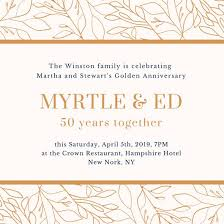 White And Gold Simple 50th Wedding Anniversary Invitation