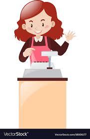 Cashier Working Behind The Desk
