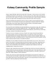 kelsey community profile sample essay