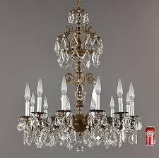 8 of 9 huge 3 spanish brass crystal chandelier c1940 vintage antique french light