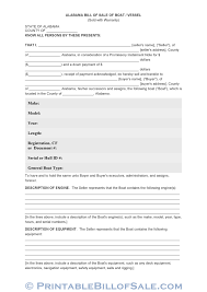 Watercraft Bill Of Sale Free Alabama Bill Of Sale Of Boat Vessel Form Download