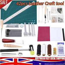 42pcs set leather craft tools hand sewing stitching punch carving diy tool au