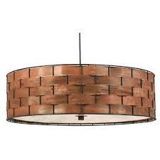 shaker 3 light dark woven wood pendant