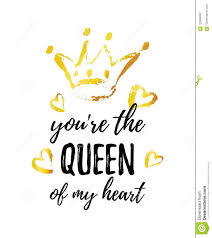 You Are The Queen Of My Heart Greeting Card Hand Drawn Crown And