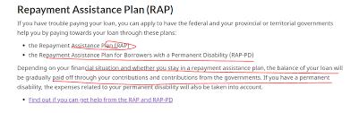Ontario Student Assistance Program Repayment Assistance Plan