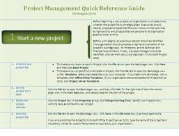 project management quick reference guide quick reference guide template