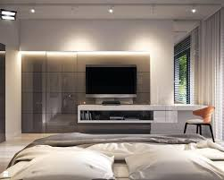 modern bedroom with tv. Bedroom Tv Units Modern In Private Apartment Gray Interiors Master Unit Design With S