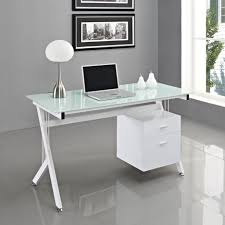 glass computer desk and white metal frame stand also white shade desk lamp for home office decoration design with ikea glass desks interior ideas image