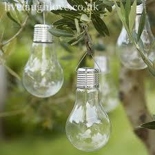 Solar Powered Outdoor Lights Uk Solar Powered Hanging L E D Light Bulb Last Few
